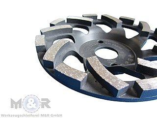 Diamant-Schleifteller / Schleiftopf / Topfschleifer Ø 125 mm - Abrasiv Cup Premium, sehr hohe Standzeit für Sandstein, Estrich, Putz, abrasive Betonprodukte. Segmentansicht!