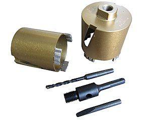 Ø 68 + Ø 82 mm Diamant-Dosensenker mit M16-Anschluss & SDS-Plus-Aufnahme als Set | 10 mm hohe Turbo-Profi-Segmente + passende SDS-Plus-Aufnahme. Für abrasives Material wie: Mauerwerk, Poroton, Gasbeton, Estrich, Kalksandstein weich