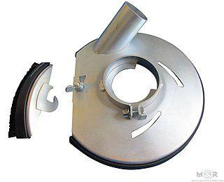 Metall-Absaughaube Ø 180 mm für Bosch Winkelschleifer mit Spannhals Ø 74 mm | Damit können sie ihren Hochleistungs-Winkelschleifer auch zum Betonschleifen verwenden