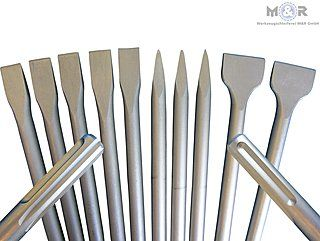 SDS-Max-Meißel - Hier als Super-Spar-Set nur 79,90 € | 5x Flachmeißel 400 x 25 mm, 3x Spitzmeißel 400 mm, 2x Spatmeißel 400 x 50 mm