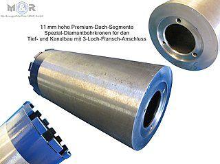 Diamant-Kanal-Bohrkrone mit 3-Loch-Anschluss vom Hersteller M&R in Berlin | 3-Loch Premium-Bohrkronen für den Tief- und Kanalbau mit 11 mm Segmenthöhe für Stahlbeton, duktile Gussrohre, Steinzeugrohre, allgemeine Betonprodukte