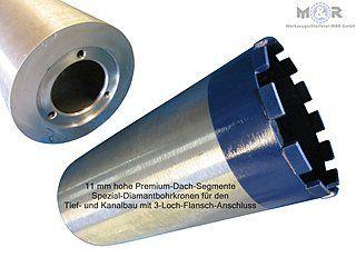 Diamant-Kanal-Bohrkrone mit 3-Loch-Anschluss für den Tief- und Kanalbau.