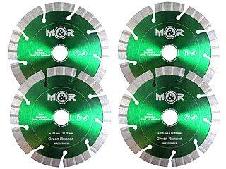 4 Stück Diamant-Trennscheiben Ø 150 mm für Mauernutfräse als Set - geeignet für Beton, Ziegel, Mauerwerk, Kalksandstein, Klinker, Granitborde |