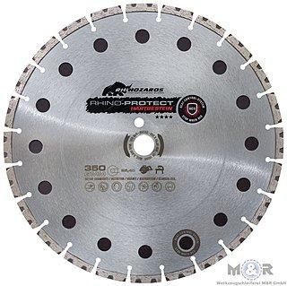 Diamant-Trennscheibe Rhino-Protect Ø 350 x 25,4 mm - für harten Beton, Stahlbeton, Altbeton, Granit, harte Natursteine, Klinker. | Spezialkern mit Heat-Control-Sytem HCS. Innovative Double-Layer Technologie!