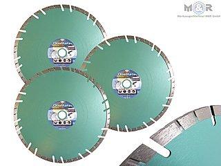 Diamant-Trennscheiben Ø 300 x 22,23 mm ✓ 3er Spar-Set für Klinker, Ziegel, Mauerwerk & mehr ➤ M&R | 10 mm hohe Turbo-Segmentierung