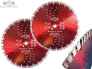 Diamant-Trennscheiben Ø 350 x 20 mm (passend zu Stihl) ✓ 2er Spar-Set für allgem. Betonprodukte, Klinker, Ziegel, Mauerwerk & mehr ➤ günstig bei M&R | Mit 12 mm hohen, gesinterten Turbo-Segmenten - mit Bohrung Ø 20 mm, passend zu Stihl