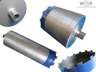 Diamant-Trocken-Bohrkronen Ø 132 + 162 mm als Set - Premium-Ausführung für hartes Kalksandstein, Klinker, Ziegel, Beton ohne Bewehrung