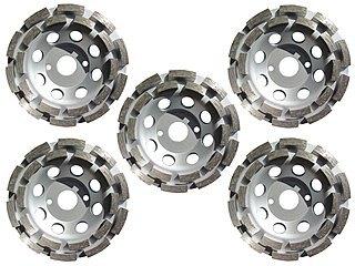 5x Diamant-Schleifteller Ø 125 mm von M&R Dia-Tools, doppelreihig, fuer Beton und Estrich
